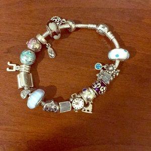 Pandora bracelet with 17 charms